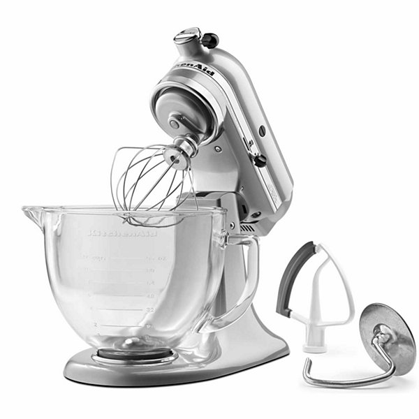 KitchenAid® 5 Quart Tilt-Head Stand Mixer with Glass Bowl and Flex Edge Beater - KSM105GBC