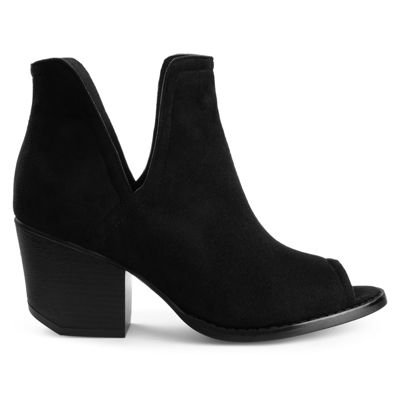 Journee Collection Womens Jordyn Booties Stacked Heel Pull-on