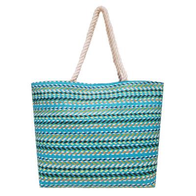 Multi Stripe Straw Large Tote Bag