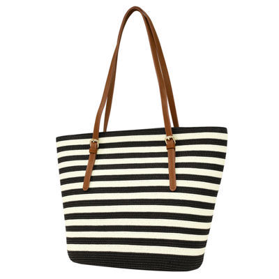St. John's Bay Buckle Strap Straw Tote Bag