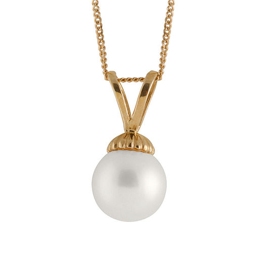 Womens Cultured Akoya Pearl 14K Gold Pendant Necklace