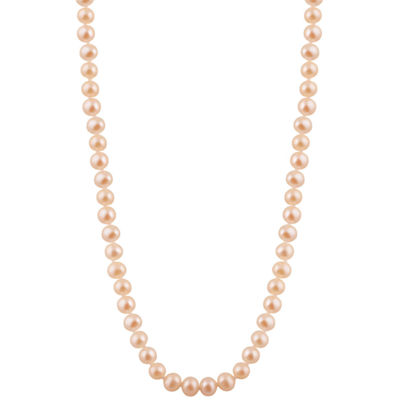 Splendid Pearls Womens 7MM Pink Cultured Freshwater Pearls 14K Gold Strand Necklace