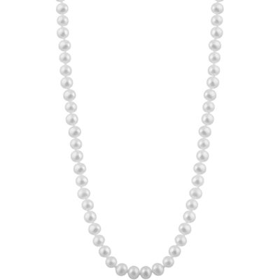 Splendid Pearls Womens 7MM White Cultured Freshwater Pearl 14K Gold Strand Necklace