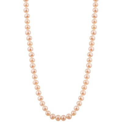 Splendid Pearls Womens 7MM Pink Cultured Freshwater Pearl 14K Gold Strand Necklace