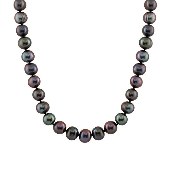 Splendid Pearls Womens 8MM Black Cultured Freshwater Pearl 14K Gold Strand Necklace