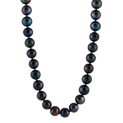 Splendid Pearls Womens 9MM Black Cultured Freshwater Pearl 14K Gold Strand Necklace