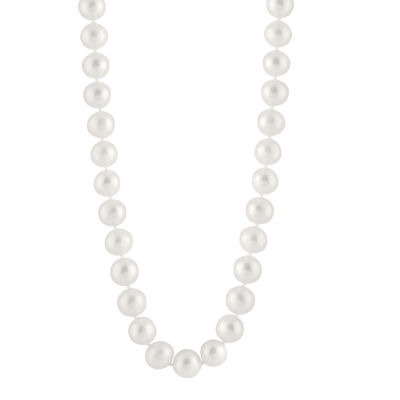 Splendid Pearls Womens 9MM White Cultured Freshwater Pearl 14K Gold Strand Necklace