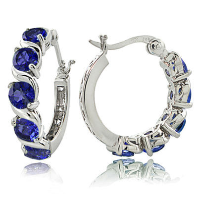Lab Created Blue Sapphire Sterling Silver 21mm Hoop Earrings