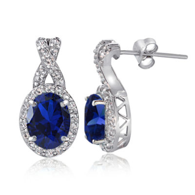 Lab Created Blue Sapphire 18mm Round Stud Earrings