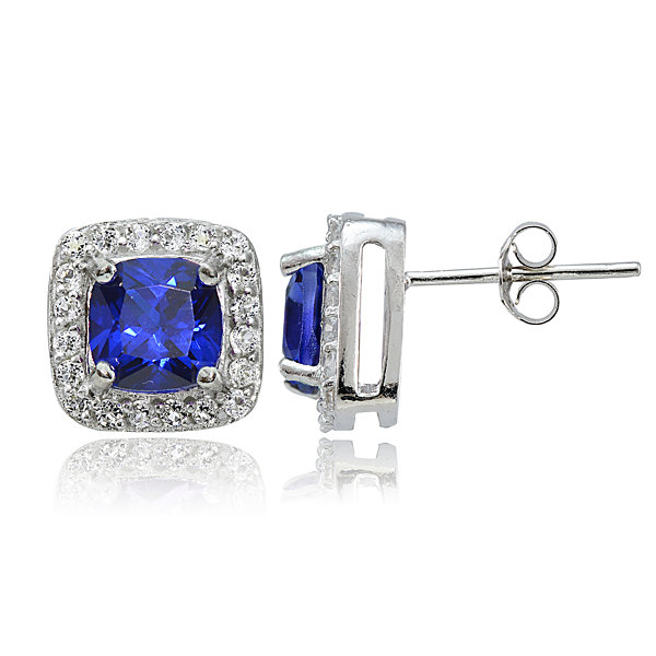 Round Blue Sapphire Sterling Silver Stud Earrings