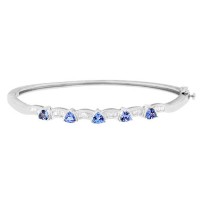 1/3 CT. T.W. Blue Tanzanite 14K White Gold Triangle Bangle Bracelet