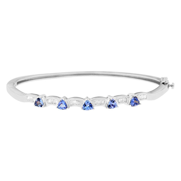 Womens 1/3 CT. T.W. Blue Tanzanite 14K Gold Bangle Bracelet