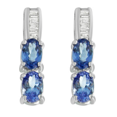 Diamond Accent Blue Tanzanite 14K Gold Oval Drop Earrings