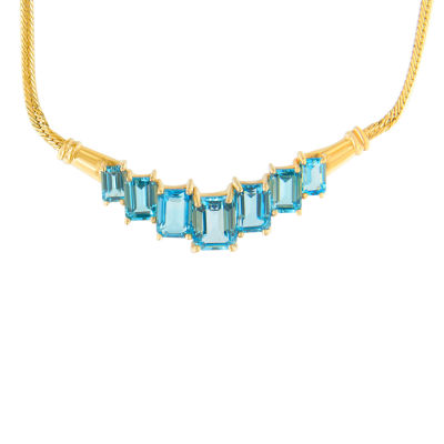 Womens Blue Topaz 14K Gold Oval Collar Necklace
