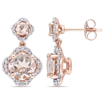 3/8 CT. T.W. Pink Morganite 14K Rose Gold Ear Pins