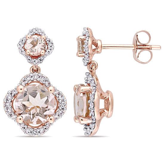 3 8 Ct Tw Pink Morganite 14k Rose Gold Ear Pins