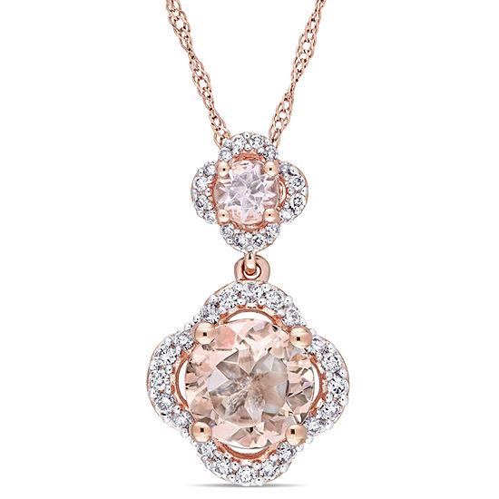 Womens 1/5 CT. T.W. Pink Morganite 14K Rose Gold Pendant