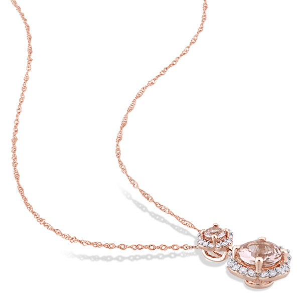 1/5 CT. T.W. Pink Morganite Round 14K Gold Pendant