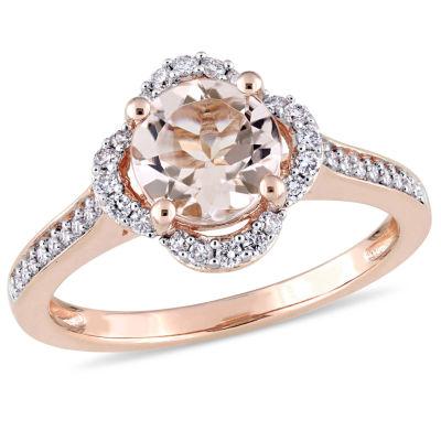 Womens 1/7 CT. T.W. Pink Morganite 14K Rose Gold Cocktail Ring