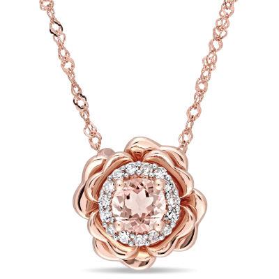 Womens Diamond Accent Pink Morganite 10K Rose Gold Flower Pendant