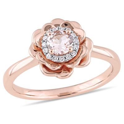 Womens 1/10 CT. T.W. Pink Morganite 10K Rose Gold Flower Cocktail Ring