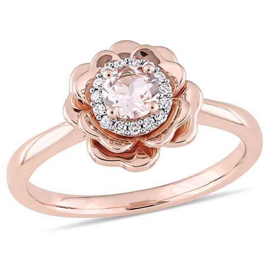 Womens 1/10 CT. T.W. Pink Morganite 10K Rose Gold Flower Cocktail Ring