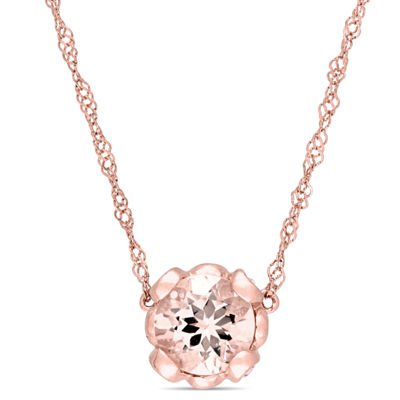 Womens Pink Morganite 10K Rose Gold Flower Pendant Necklace