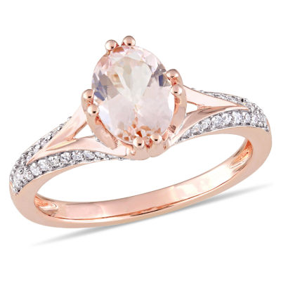 Womens 1/4 CT. T.W. Pink Morganite 14K Rose Gold Oval Cocktail Ring