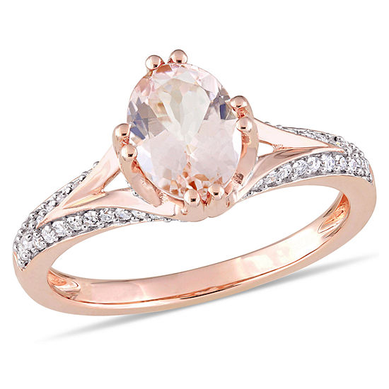 Womens 1 4 Ct Tw Pink Morganite 14k Rose Gold Oval Cocktail Ring