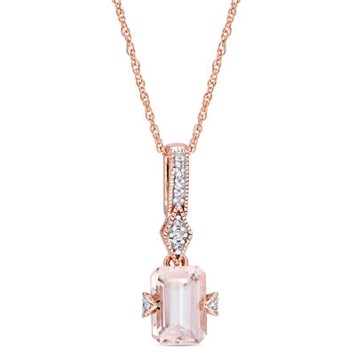 Diamond Accent Pink Morganite Emerald 10K Gold Pendant