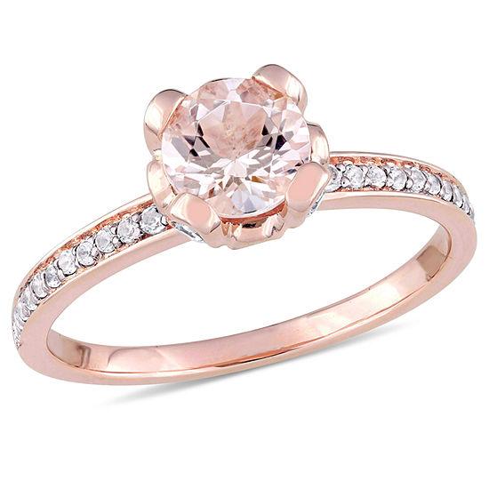 Womens Pink Morganite 10K Rose Gold Cocktail Ring