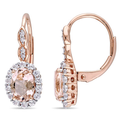 Diamond Accent Pink Morganite 14K Rose Gold 19.8mm Hoop Earrings