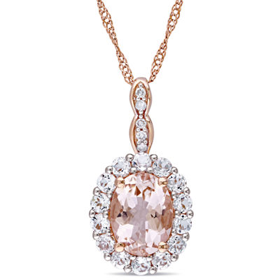 Womens Diamond Accent Pink Morganite 14K Rose Gold Pendant