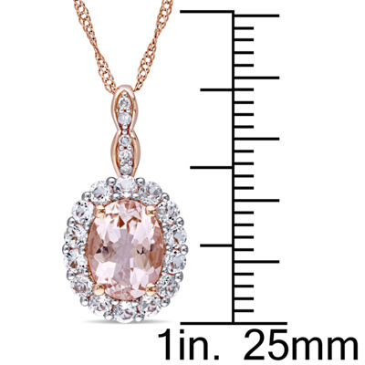 Diamond Accent Pink Morganite Oval 14K Gold Pendant