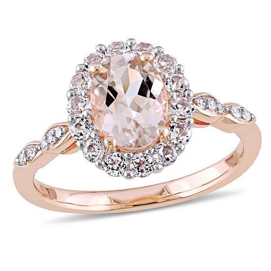 Womens Diamond Accent Pink Morganite 14K Rose Gold Rectangular Cocktail Ring