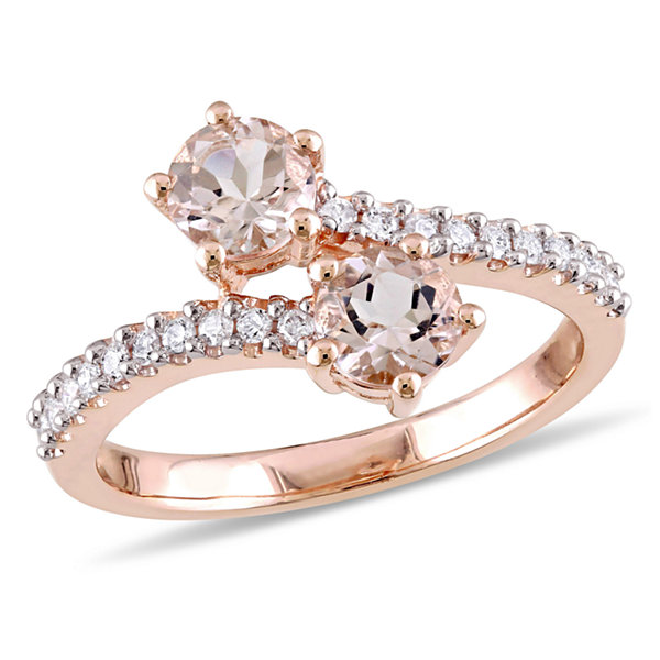 Womens 1/5 CT. T.W. Genuine Pink Morganite 10K Gold Cocktail Ring