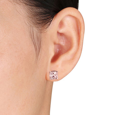 Pink Morganite 10K Rose Gold Square Ear Pins