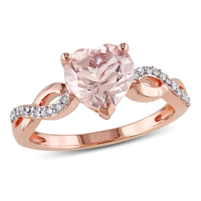 Womens 1/10 CT. T.W. Pink Morganite 10K Rose Gold Heart Cocktail Ring