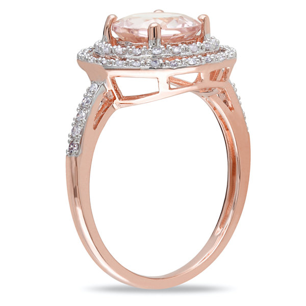 Womens 1/4 CT. T.W. Genuine Pink Morganite 10K Gold Cocktail Ring
