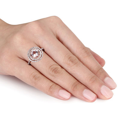 Womens 1/4 CT. T.W. Pink Morganite 10K Rose Gold Round Cocktail Ring