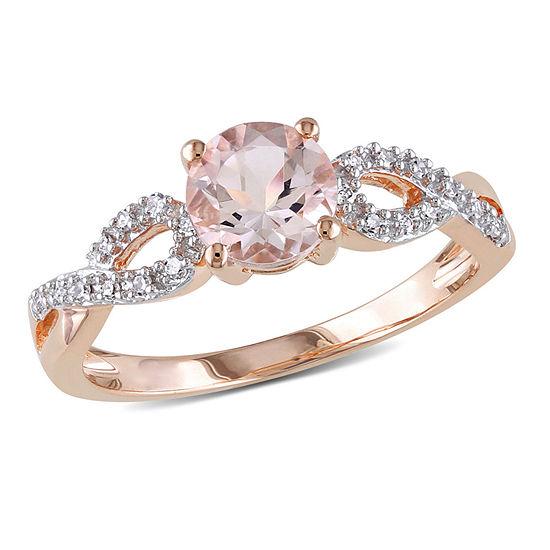 Womens 1/10 CT. T.W. Pink Morganite 10K Rose Gold Infinity Cocktail Ring