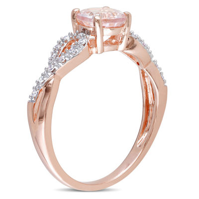 Womens 1/10 CT. T.W. Pink Morganite 10K Rose Gold Infinity Cocktail Ring