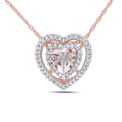 Womens 1/5 CT. T.W. Pink Morganite 10K Rose Gold Heart Pendant
