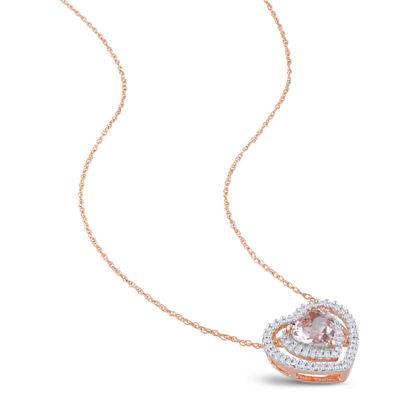 Womens 1/5 CT. T.W. Pink Morganite 10K Rose Gold Heart Pendant