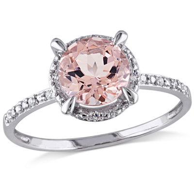 Womens Diamond Accent Pink Morganite 10K White Gold Round Cocktail Ring