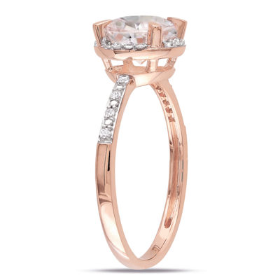 Womens Diamond Accent Pink Morganite 10K Rose Gold Round Cocktail Ring