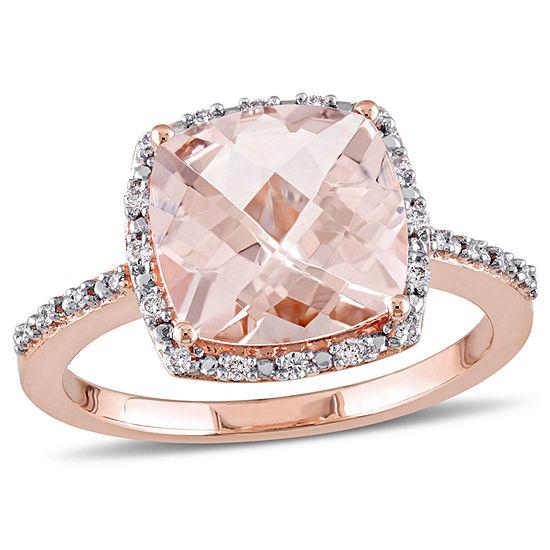 Womens 1/10 CT. T.W. Pink Morganite 14K Rose Gold Square Cocktail Ring