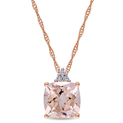 Womens Diamond Accent Pink Morganite 14K Rose Gold Square Pendant