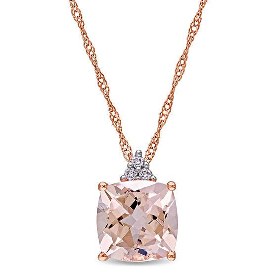 Womens Diamond Accent Pink Morganite 14K Rose Gold Square Pendant