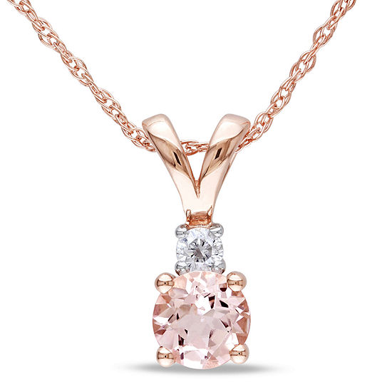 Womens Diamond Accent Pink Morganite 10K Rose Gold Pendant Necklace